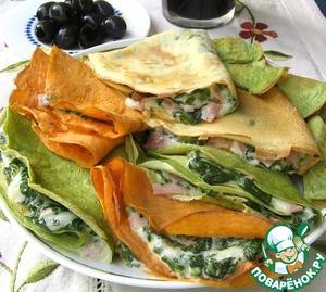 Рецепт Разноцветные блинчики со шпинатом, сыром и ветчиной
