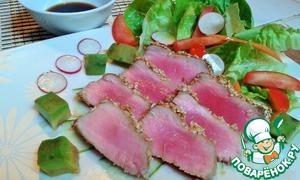 Рецепт Тунец в кунжуте с салатом