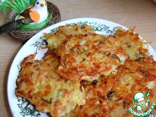 драники с ветчиной сыром и зеленью