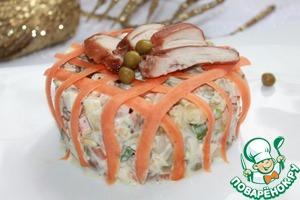 Рецепт Оливье со сметаной, горчицей и печеной курицей