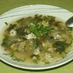 Суп с зелеными овощами и клецками