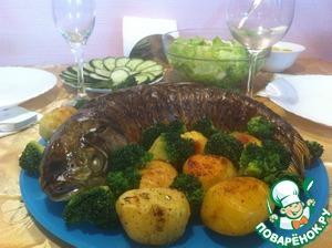 Рецепт Запеченный белый амур с картошкой и брокколи