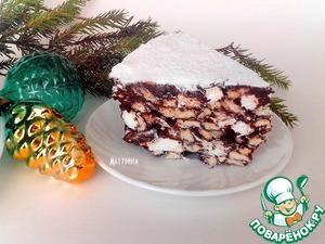 Рецепт Шоколадный десерт с орехами, печеньем, маршмеллоу