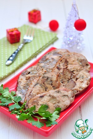 Рецепт Крыло индейки, фаршированное печенью и грибами