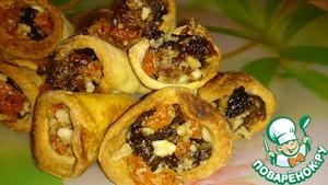 Песочные рожки с сухофруктами и орешками пошаговый рецепт с фото