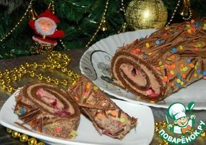 Рецепт Рождественский шоколадный рулет
