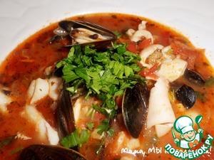 Рецепт Качука, томатный суп с морепродуктами