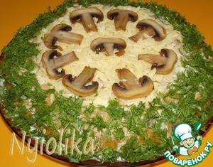 """Рецепт Закусочный сырно-грибной торт """"Полянка"""""""