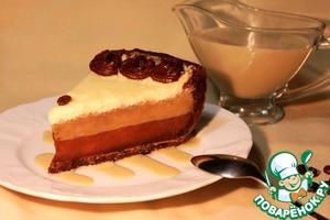 Рецепт Кофейный чизкейк с шоколадной прослойкой и кофейным соусом