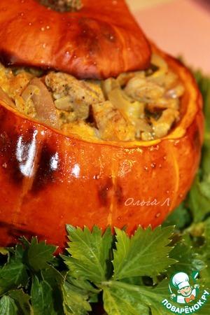 Сливочно-грибное рагу с мясом в тыкве простой рецепт приготовления с фотографиями