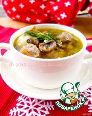 Рецепт Суп из белой фасоли с грибами