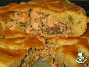 Рецепт Пирог с красной рыбой и рисом