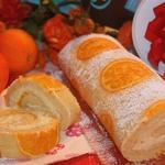 Бисквитный апельсиновый рулет
