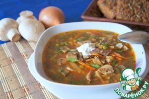 рецепт супа из шампиньонов и свинины