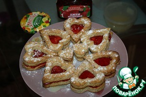 Готовим рецепт с фото Миндальное печенье с малиновым джемом