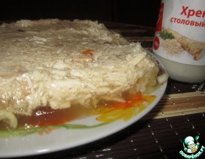 Рецепт: Холодец из куриного филе и лапок