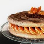 Шоколадно-мандариновый меренговый торт