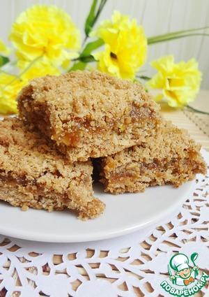 Готовим домашний рецепт с фото Овсяный насыпной пирог с абрикосовым джемом