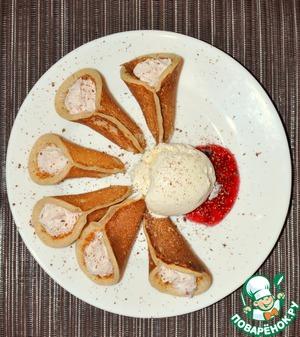 Кулечки из блинчиков с творогом и малиновым джемом домашний рецепт с фото пошагово