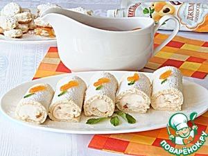Рулетики со взбитыми сливками и абрикосовым джемом домашний рецепт с фото готовим