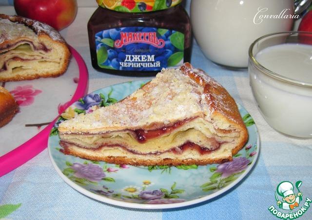 Пирог с черничным вареньем на кефире рецепт пошагово