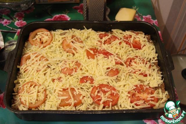 Фарш с картошкой с помидорами и сыром в духовке рецепт пошагово в