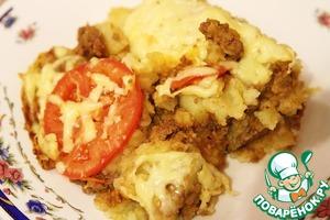 Картофельная запеканка с фаршем, помидорами и сыром