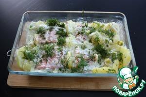 Запеченный лосось с луком-порей, картофелем и сливками рецепт приготовления с фотографиями