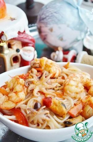 Рецепт: Рисовая лапша с морепродуктами