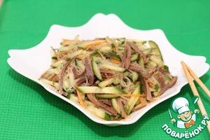как приготовить китайский салат с огурцами и языком