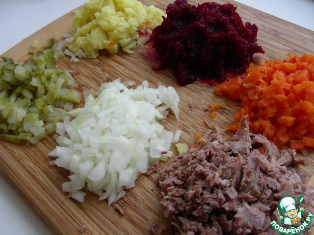 рецепт салат из свеклы, моркови, картошки и мяса