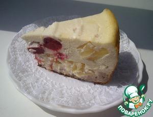 Рецепт Запеканка десертная из творога с клубникой и ананасом. Малосладкая