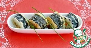 Рецепт Хрустящие обжаренные роллы с рыбой и икрой