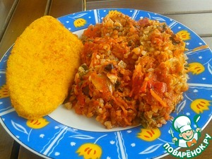 Рецепт Каша гречневая с овощами на противне