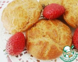 Рецепт Заварные пирожные на овсяной муке с клубничным суфле без сахара