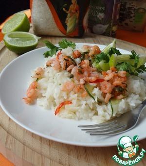 Рецепт Кокосовый рис по-тайски с креветками, лаймом и кориандром