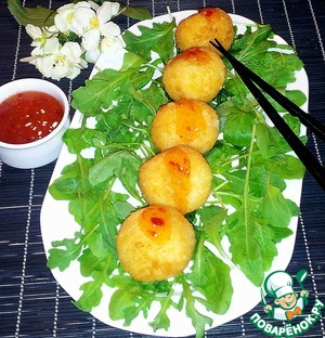 Рецепт Рисовые шарики с курицей и моцареллой