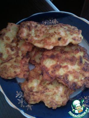 Рецепт Оладушки из кабачка и курицы