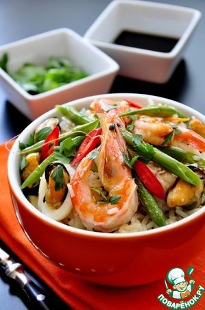 Рецепт Плов с рыбой и морепродуктами