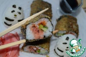 Рецепт Горячий ролл с рыбой кижуч, огурцом и лососевой икрой