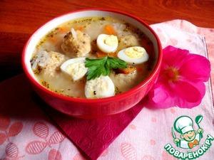 Рецепт Еврейский суп с куриными клецками, рисом и яйцом