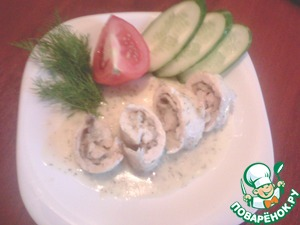 Рецепт Куриные рулетики в сметанном соусе