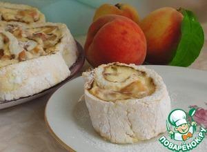 Рецепт Меренговый рулет с творожным кремом и персиками