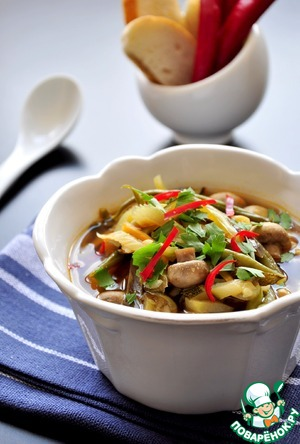 Рецепт Грибной суп со стручковой фасолью и баклажанами
