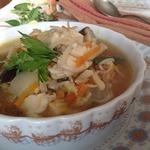 Рыбный суп из трески с пекинской капустой и рисом