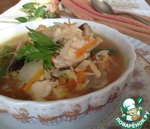 Рецепт Рыбный суп из трески с пекинской капустой и рисом