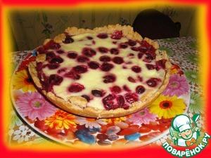 Рецепт Песочный пирог с вишнями или клубникой в сметанке