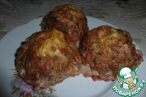 Рецепт Тефтели с гречкой под томатным соусом с сюрпризом