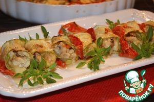 Рецепт Рулетики из кабачков с сыром, курицей и белыми грибами