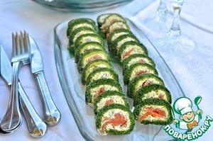 Рецепт Рулет из свежего шпината с копчёным лососем
